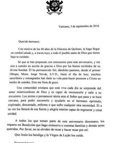 El Papa saludó a la diócesis de Quilmes por los 40 años de su creación