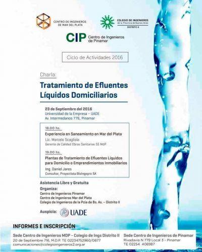 El Colegio de Ingenieros organizará una charla sobre Tratamiento de Efluentes Líquidos Domiciliarios en Pinamar