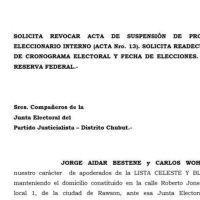La Celeste y Blanca apel� la suspensi�n de la interna y cuestion� a la Junta Electoral del PJ