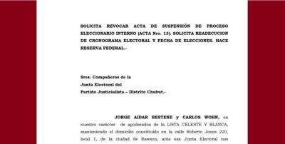 La Celeste y Blanca apeló la suspensión de la interna y cuestionó a la Junta Electoral del PJ