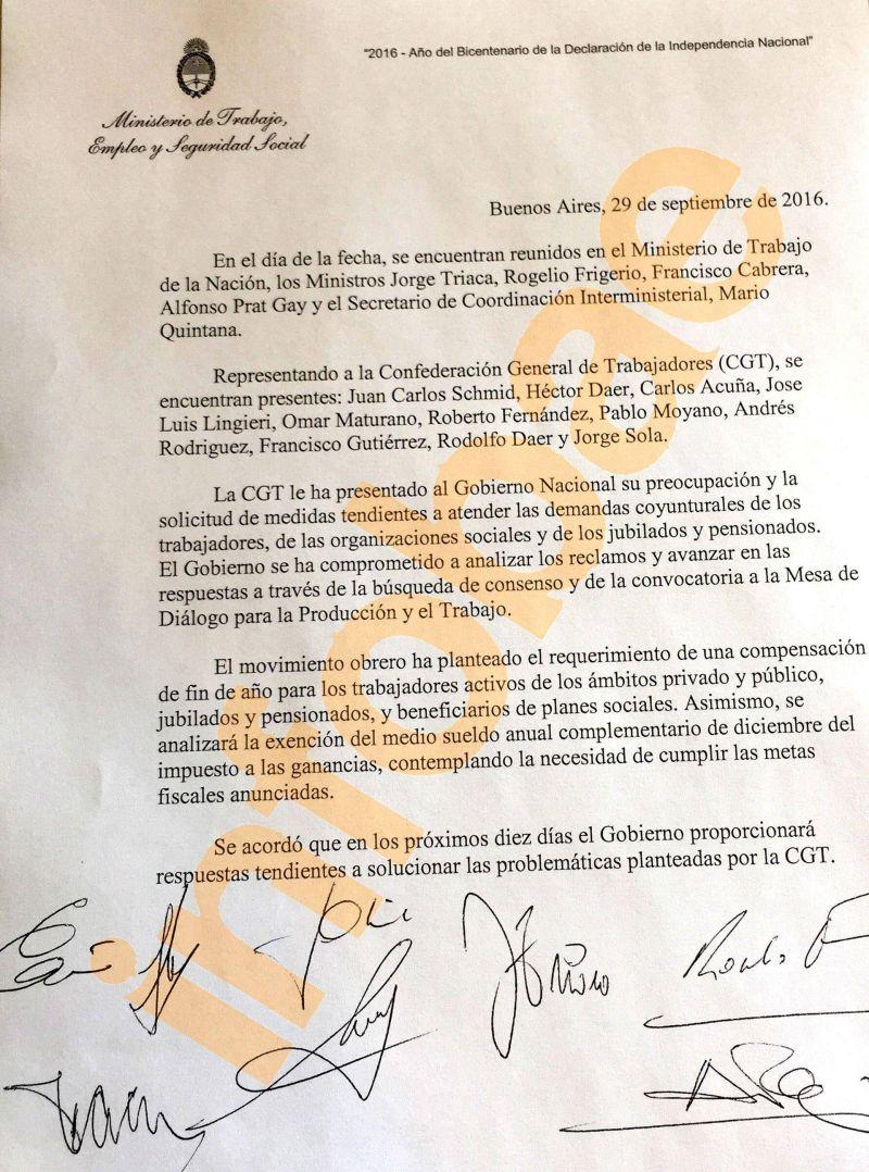 La CGT dejó en suspenso el paro luego de una reunión con el gobierno nacional