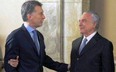 Macri recibe a Temer en Olivos con el objetivo de una nueva agenda