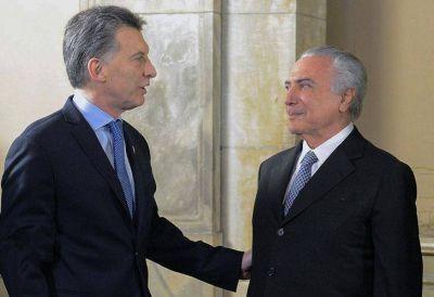 Macri y Temer expresaron coincidencias sobre Colombia, Venezuela y el Mercosur
