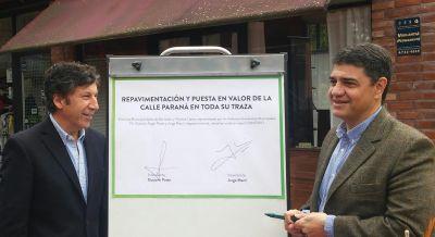 Macri y Posse anunciaron obras de repavimentaci�n de la calle Paran�