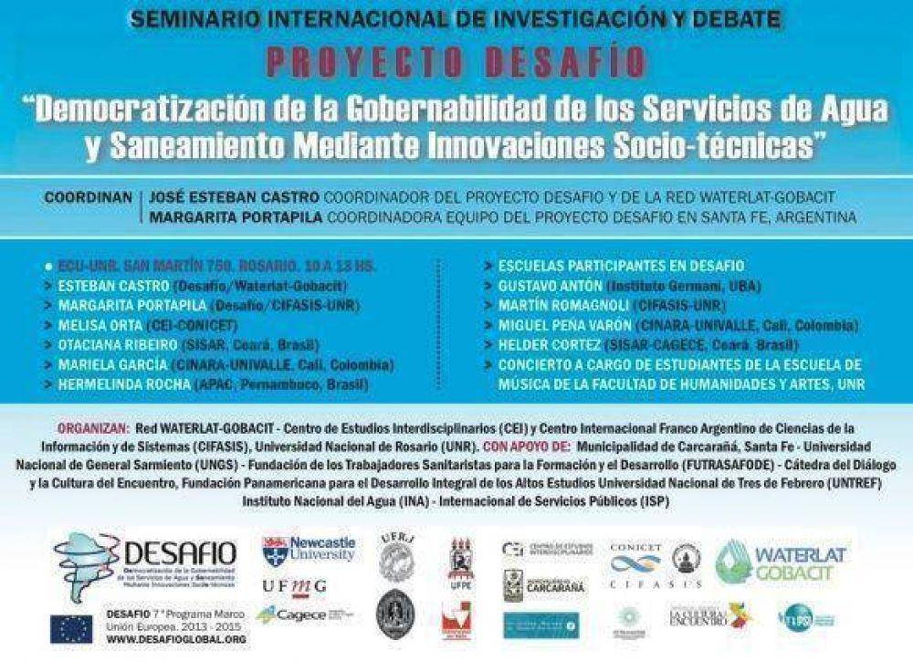 Agua y saneamiento: Seminario Internacional llega el miércoles a Rosario