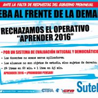 Suteba rechaza el programa �Aprender 2016�