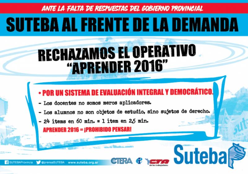"""Suteba rechaza el programa """"Aprender 2016"""""""