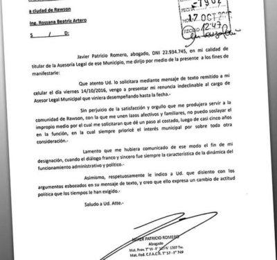 Rawson: el asesor legal que Artero echó por WhatsApp se fue enojado y con críticas