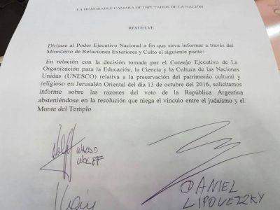 Argentina/UNESCO. Piden informes a la cancillería argentina por el voto en la UNESCO