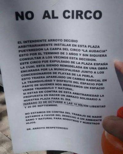 No quieren la carpa del circo en Plaza Pueyrredon