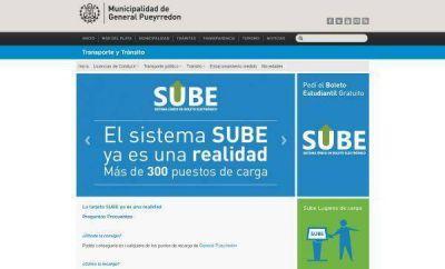 La tarjeta SUBE en General Pueyrredon tiene su página web
