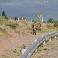 Limpian y desmalezan las banquinas de la Ruta N� 147