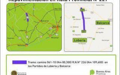 Repavimentan ruta 227 entre Lobería y Balcarce