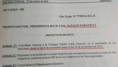Faravelli pide licencia y el Concejo Deliberante quedaría en manos del Frente Renovador