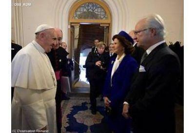 El Papa visita a los reyes de Suecia en el Palacio Real de Lund