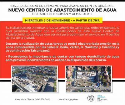 OSSE realizará empalme de cañerías en Tucumán y Almafuerte