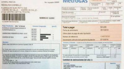 Gas: la mayoría de los hogares recibe facturas que van de $ 0 a $ 10
