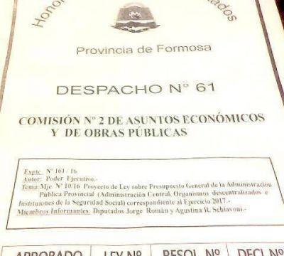 La legislatura provincial aprobó el presupuesto para el 2017