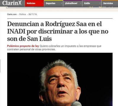Medios de todo el país se hicieron eco de la denuncia contra Rodríguez Saá por discriminación