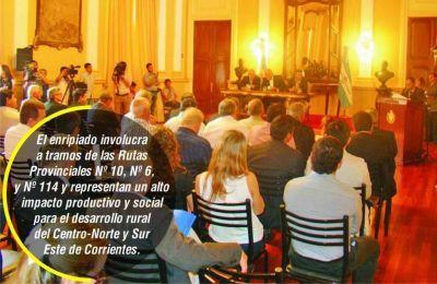 Colombi firmó decretos para obras de enripiado en tres rutas correntinas