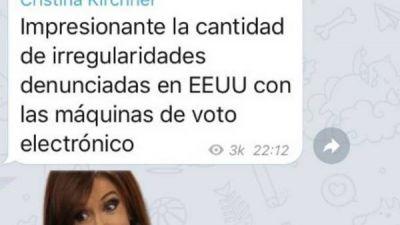Elecciones en EE.UU.: Cristina Kirchner salió a criticar el sistema electoral electrónico