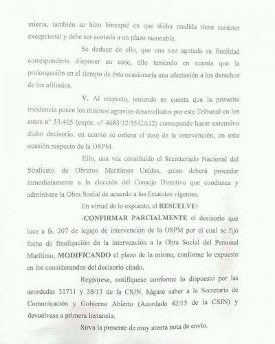 La Justicia también ordenó cesar la intervención de la Obra Social del SOMU
