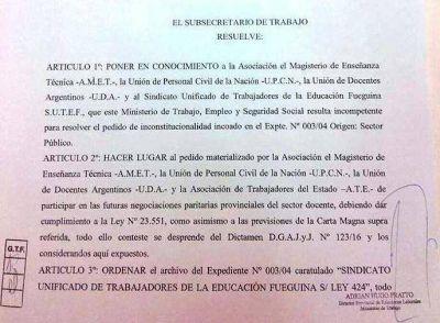 Repudio al Ministerio de Trabajo por cierre de paritarias