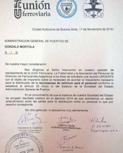 Gremios ferroviarios le solicitaron una reunión a Gonzalo Mórtola