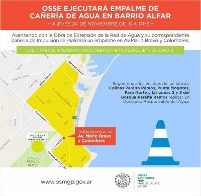 OSSE realizará empalme de cañerías avanzando con obra de agua en el barrio Alfar