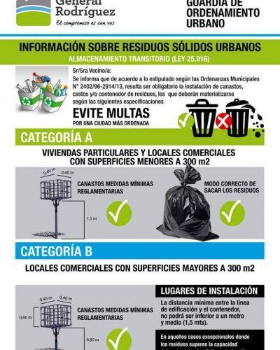 General Rodríguez: Multarán a quienes no tengan cestos de basura reglamentarios