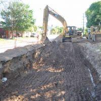 Trabajan en la reconstrucción tras el hundimiento de Alberdi