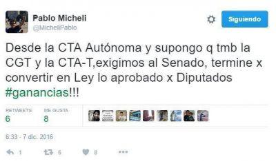 """Micheli habló de """"medidas contundentes"""" con la CTA de Yasky y la CGT si Macri veta la ley"""