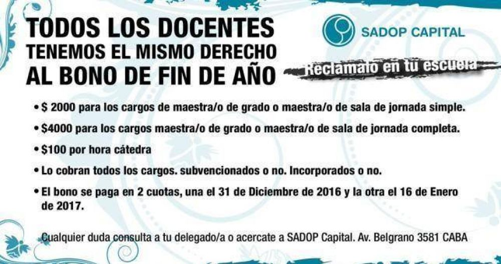Docentes privados piden que Larreta garantice el bono de fin de año