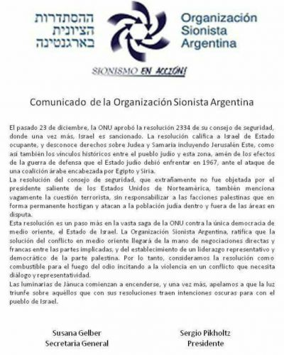 La Organización Sionista Argentina repudió la resolución del Consejo de Seguridad de la ONU