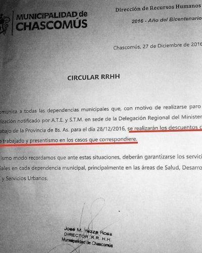 Chascomús es el único municipio de la zona que no otorga bono de fin de año y advierte que descontará el día a los trabajadores que se adhieran al paro