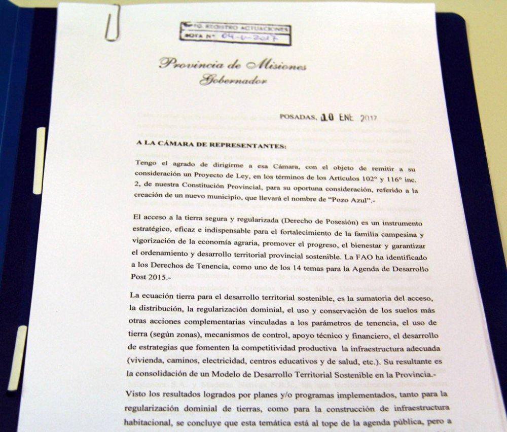 Passalacqua presentó un proyecto para que Pozo Azul se convierta en un municipio