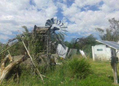 El tornado provocó daños en dos estancias