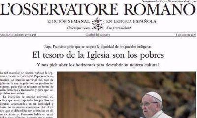 El diario del Vaticano destacó el incremento de la pobreza durante el primer año de Macri