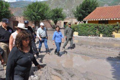 La ministra Bullrich en la zona de desastre