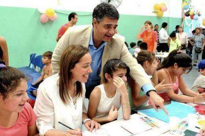 Vidal visitó junto a Jorge Macri un Centro Barrial de la Infancia de Vicente López