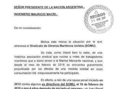 El SOMU llegó a la Rosada: piden ver a Macri por la destrucción de derechos a través de la intervención