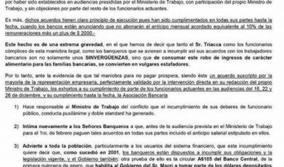 """La Bancaria calificó de """"sinvergüenzas y estafadores"""" a Triaca y los banqueros"""