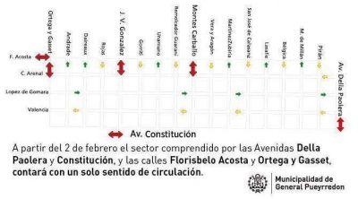 Implementan sentido único de circulación en calles del barrio Los Pinares