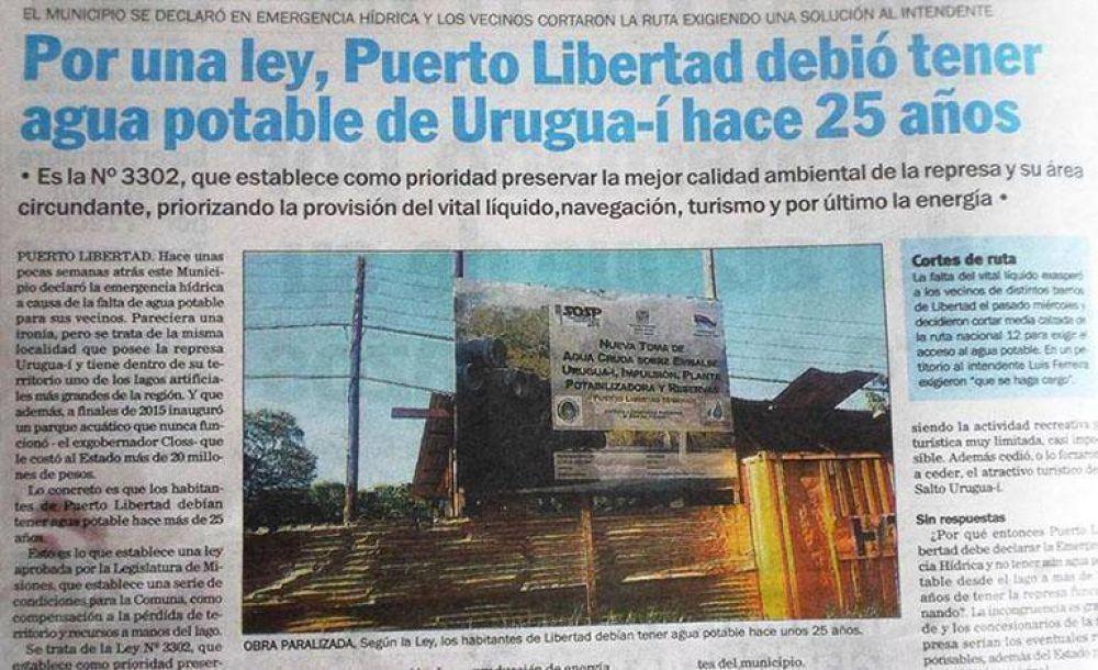 Por una Ley, Puerto Libertad debió tener agua potable de Urugua-í hace 25 años