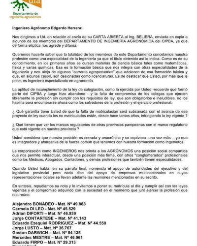 El DIA emitió un comunicado repudiando las manifestaciones del Ing. Edgardo Herrera
