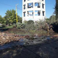 Caño roto en la Plaza Torre Tanque: el agua llega hasta Belgrano