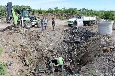 El Municipio realiza una importante obra hidráulica en el barrio Pte. Perón