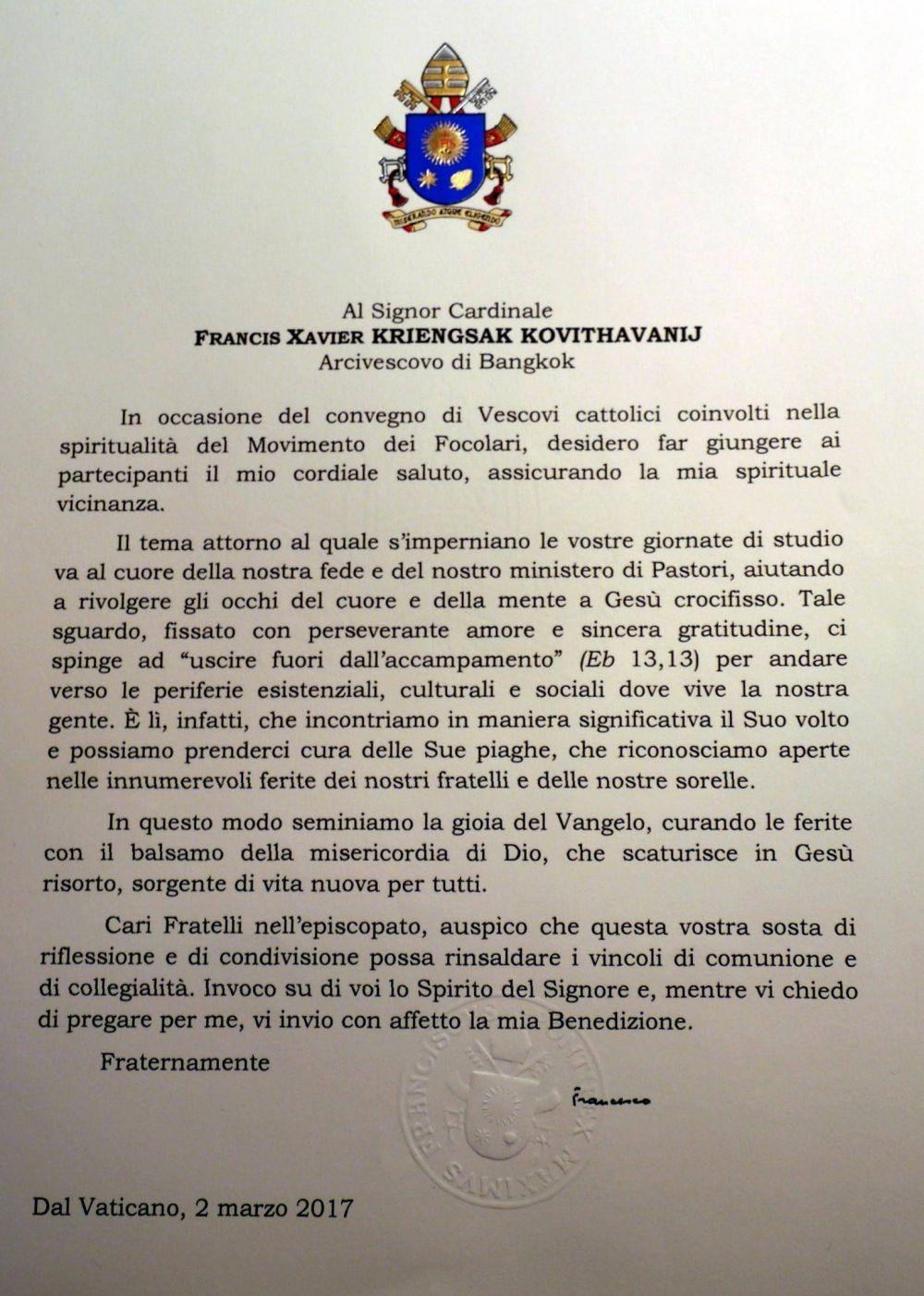 Papa Francisco a los obispos amigos de los Focolares