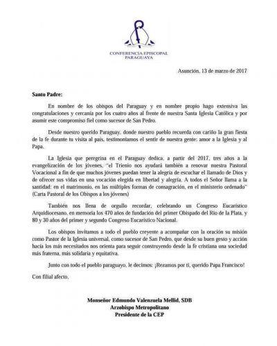 Carta al Santo Padre por el cuarto aniversario de su elección al frente de la Iglesia