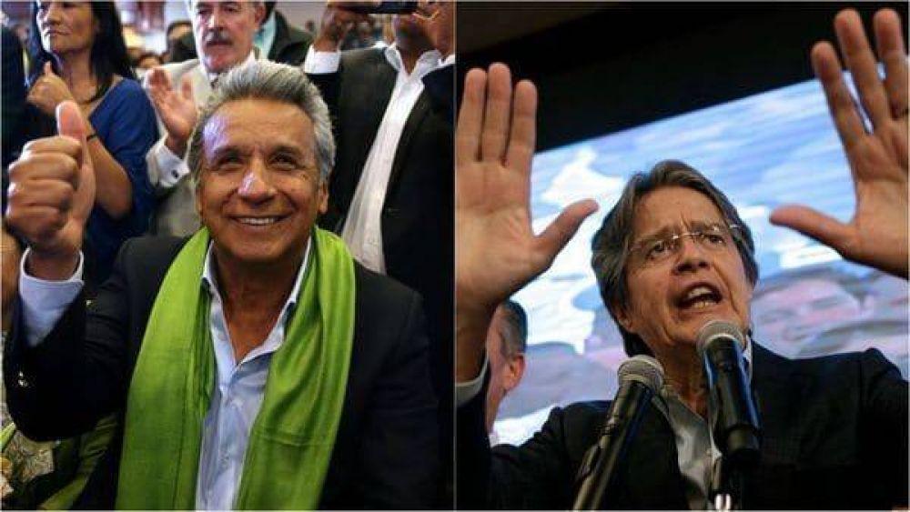 El oficialista Lenín Moreno celebró la victoria, pero el opositor Guillermo Lasso impugnará los resultados